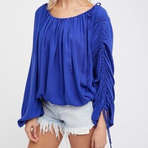 NWT Free People Rouched Flowy Royal Blue Blouse S